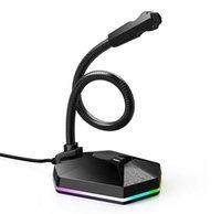 YIWA USB Mikrofon PC Kondenser Mikrofon RGB Parlak Esnek Vokal Kayıt Stüdyosu