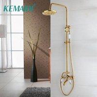 Kemaidi Baño Ducha Faucet Ducha Cabeza Oro Montaje de pared de acero inoxidable con Mano Para Baño Mezclador Agua Grifo