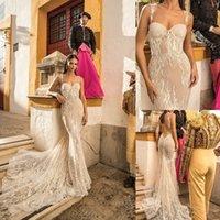 Berta Bridal Mermaid Wedding Dresses Spaghetti Sweetheart Neckline Backless Sequins Bridal Gowns With Detachable Train Wedding Go