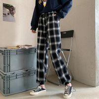 Pantaloni a plaid Houzhou Pantaloni da donna a vita alta Pantaloni a scacchi larghi 2021 Pantaloni in stile coreano invernale Donne moda rossa Palazzo