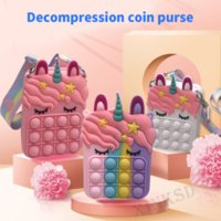 Sensory Silicone Fidget Toy Party Favor Push Bubble Stationery Storage Bag Decompression Coin Purse