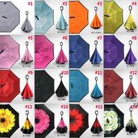 Reverse Folding Umbrella 30 Patterns Sunny Rainy Inverted Umbrellas With C-Hook Handle HWF7838