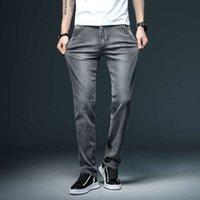 Tamaño de gran tamaño Moda gris jeans casuales hombres 28-40 pequeños pantalones de mezclilla estiramiento primavera y otoño hombre pantalón