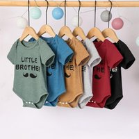 Rompers 0-12Months Funny Baby Clothes Born Infant Boys Girls Short Sleeve Little Brother Letter Print Romper Bodysuit Outfits M4