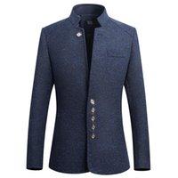Herren-Stehkragen Anzüge Hohe Qualitätskostüm Chinesische Tunika-Anzug Slim Men Single-Breasting Jacke Plus Größe 5XL