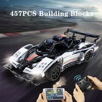 C51054 457pcs City Remote Control RC Car Toys Sports Vehicle DIY Assembly Building Blocks Technical Racing Small Bricks New Tech Gift for Children Boys