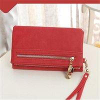 Wallets Long Ladies Leather Wallet Zip Purse Solid Color Case Phone Clutch Card Holder Women Handbag