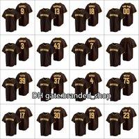Бейсбол сшиты 2021 Мужчины # 23 Фернандо Татис младший 13 Мэнни Мачадо 19 Тони Гвинн Пользовательские Женщины Молодежь Браун 2020 Реплика Дорожный Джерси