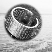 Cluster Rings Gold Color Men And Women Domineering Fashion Six-character Mantra Opening Hand Jewelry