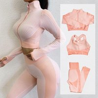 Women's Two Piece Pants Fitness Suits Yoga Women Outfits Sets Long Sleeve Shirt+Sport Bra+ Workout Running Clothing Gym Wea