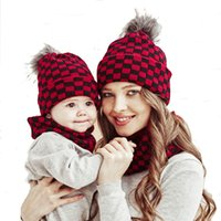 Family Matching Winter Hat Scarf Mother Baby Christmas Knit Beanie Cap Circle Loop Neck Warmer Parent-Child Crochet Pom