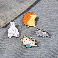 Kattunge valp igelkott isbjörn emalj pins söta tecknade djur hatt ryggsäckar kläder metall badge lapel brosch smycken gåva grossist