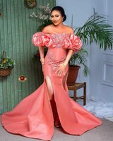 2021 Plus Size Arabic Aso Ebi Water Melon Mermaid Prom Dresses Lace Beaded Satin Evening Formal Party Second Reception Gowns Dress ZJ305