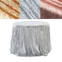 Table Cloth Round Sequin Tablecloth Silver Gold Glitter For Wedding Decoration Party Banquet Christmas Home Decor Support Custom
