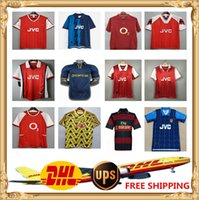 DHL UPS Ücretsiz Retro Bergkamp Henry Futbol Forması 91 94 96 97 98 01 02 04 05 06 07 08 Highbury Antik Maillot Gunner En Eski Gömlek