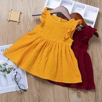 아기 소녀 드레스 어린이 착용 2021 여름 거품 프릴 슬리브 공주 드레스 스커트 비행 소매 투투 파티 생일 드레스 H237SDG