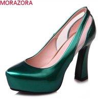 Моразора большой размер 33-43 летние высокие каблуки туфли толстые заостренные носки патентные кожаные женские насосы 210610