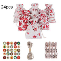 24Pcs Christmas Drawstring Present Bag Stickers Clips Hanging Rope Kit Candy Jewelry Cookie Packaging Bag Wedding Gift for Guest