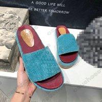 Angelina Sandalen Logo-Jacquard Bio Denim Slipper Steigerung dicker Sohlen Slides Luxurys Designer Hausschuhe Sommer Flache Flip Flops Spike Sandal