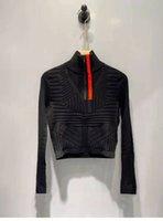 女性のトップスセーターニットティージッパーネックを手紙の縞模様の首を調整する女性スリムセーター長袖シャツ春秋スタイルサイズs-l
