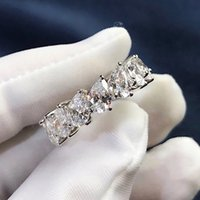 925 Sterling Silver Drop-shaped Cut Row Diamond Platinu Moissanite Engagement Wedding Band rings for Women Gift
