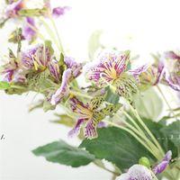 Newwedding Imitação de Imitação Roxo Flor Artificial 5 Cabeça Impatiens Decoração de Casa Imitação Flores Beam Orchid Fleur Artificielle Ewd