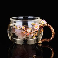 Wine Glasses Creative Enamel Single Tea Cup Thickened With Cover Separation Household Filter Heat Resistant Glass Flower
