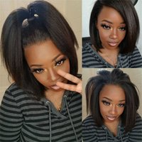 T Part Human Hair Lace Wigs Kinky Straight Malaysian 8-16 inch Short Remy Bob Wig 13x4x1 Swiss-Lace Pre Plucked Natural Hairline