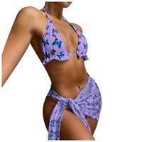 Women's Swimwear Swimming Suit 2021 Sexy Fashion Butterfly Print Split Sarong Three-piece Bikini Swimsuit Women