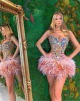 Party Dresses High Neck Feathers Krótki Prom 2021 Luksusowy Ciężki Frezowanie Z Długim Rękawem Mini Koktajl Homcoming