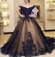 Gothic Black Prom Dresses Ball Gown Lace Appliqued Beading Evening Dress Off The Shoulder Corset Up Back Plus Size Party Gowns