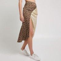 Röcke Frauen Rock Mode Elegante Vintage Patchwork Floral Slim Damen Hohe Taille Midi Sexy Side Slit Frau