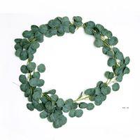 Densa folha artificial Eucalipto Garland Faux Silk Eucalipto Vines Handmade Garland Greenery Wedding Backdrop Arch Decoração de Parede EWF5673
