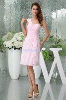 Bridesmaid Dress Modest 2021 Design Custom Size color One Shoulder Chiffon Gown Short Pink Davids Bridal Dresses