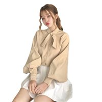 Women's Blouses & Shirts blouse long sleeve peter pan, female white bowknot pink shirt MK5P