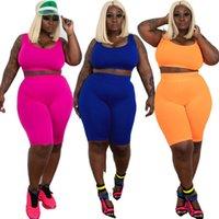 뜨거운 판매 큰 여성의 다용도 새로운 스타일의 탄성 조끼 반바지 두 조각 세트 패션 캐주얼 여름 단색 슬림 스포츠웨어 양복