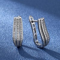 Stud Trendy Small Hoop Earrings For Women Two Colors Available Micro Paved CZ Anniversary Birthday Fine Gift Daily Accessory