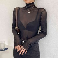 Women's Sweaters Transparent slim T-shirt, thin, elastic woman's t-shirt with long sleeves, tops, Korean summer fashions DNHO