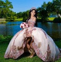2021 розовое золото блестение кружева QuinceAnera платья бальное платье на плечо хрустальные бусины блестки возлюбленные с рукавами шампанского вечеринка платье выпускного вечера вечерние платья