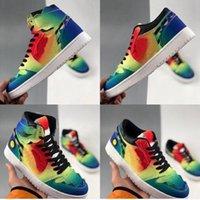 2021 J Balvin 1s High Og Womens Mens Sapatos de Basquete Jumpman 1 Tie Dye Jbalvin Multi-Color Arco-íris Treinadores Esportivos Sneakers des Chaussures