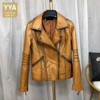 Dames Lederen Faux Natuurlijke Vintage Motorfiets Jas Dames Echte Jassen Merk Designer Bovenkleding Olie Wax Bruin Sheepskin Coat
