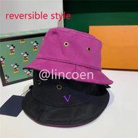 Homens reversíveis Mulheres Designer Bucket Chapéu de dois lados Wear Designers Chapéus Chapéus Mens Capas Capas Impresso Sunhat Bonnet Cap Casquette