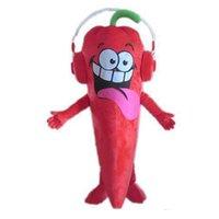 Halloween Red Chilli Mascot Costume Dessin animé Légumes Anime Thème Personnage Carnaval Parti de Carnaval Fantaisie Costumes Adultes Taille Anniversaire Outfit d'extérieur