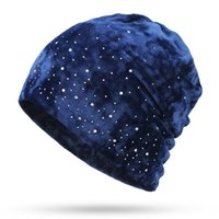 Autumn Winter Fashion Hats for Women Shiny Rhinestone Beanie Caps Female Casual Velvet Fabric Soft Cap Skullies Bonnet