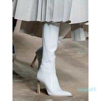 Boots nova moda na altura do joelho-botas femininas de aponta sapatos inverno botines mujer festa outono zapatos