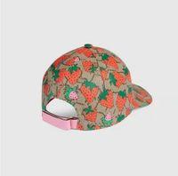 뜨거운 클래식 편지 딸기 인쇄 야구 모자 여성 유명한 면화 가변 두개골 스포츠 골프 곡선 고품질 선인장 태양 모자