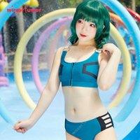 Haikyuu MHA Midoriya Izuku Deku Green and Black Suit Camisole Bikini Split Swimsuit Swimwear Bathing Suit Cosplay Costume G0913
