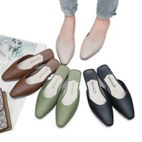 Slippers Sandals Casual PU Outer Wear Flat-Bottom Non-Slip Low-Heeled Lazy Women Slides 2021 Summer Female