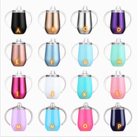 10oz Baby Sippy Cup 16 Colors with Lids Straws Egg Shaped Ki...