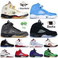 High Quality Mens Women Jumpman 5 5s Basketball Shoes Sail UNC Black Muslin Metallic Gold OG Sneakers Racer Blue Ice Alternate Grape Quai 54 Sports Trainers Size US 13